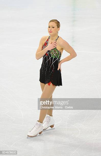 After the sudden death of her mother two days before the competition a visibly upset Joannie Rochette finishes her program during the ladies's figure...