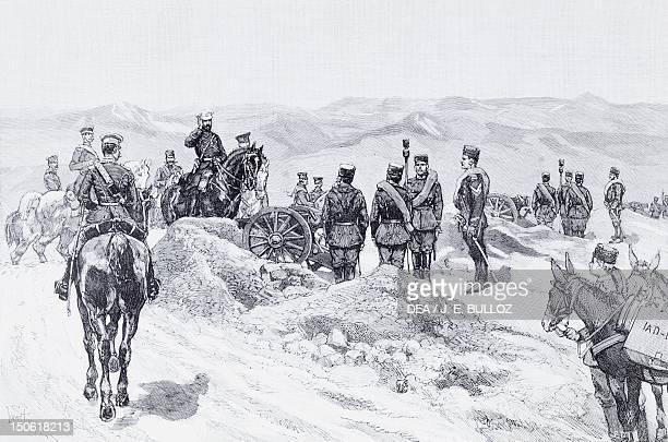 After the victory Prince Alexandre visiting the Serbian batteries of Slivnitsa engraving SerbianBulgarian War Bulgaria 19th century