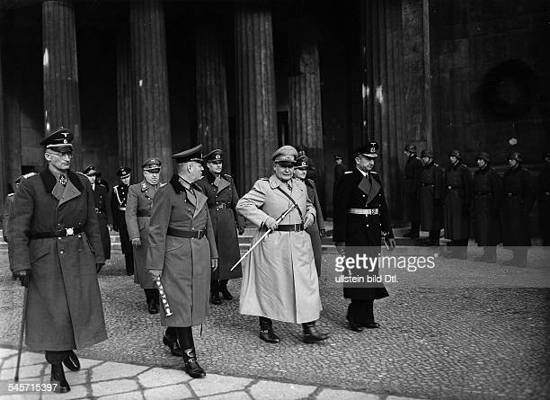 After the wreath ceremony in the Neue Wache in Unter den Linden in Berlin from right Karl Doenitz Hermann Goering field marshal Wilhelm Keitel