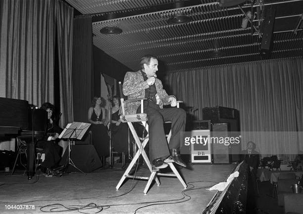 After three years of absence French singer of Armenian origins Charles Aznavour performs during his concert in Megeve in the French Alps 10 January...