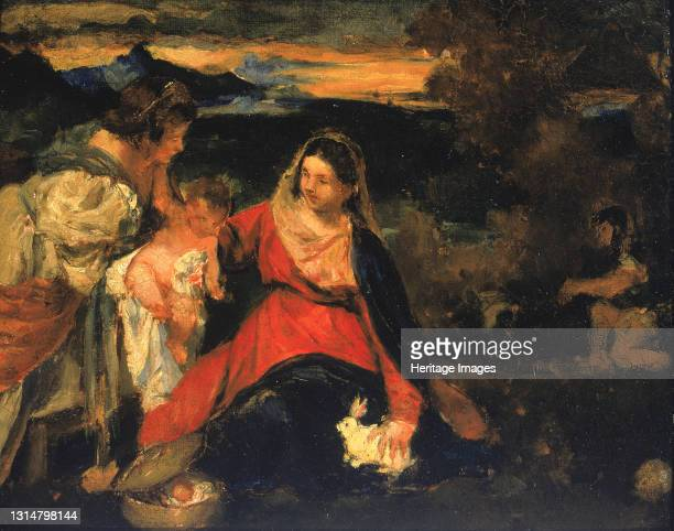 """After Titian's """"Madonna of the Rabbit"""", 1878-1882. Artist Kenyon Cox."""