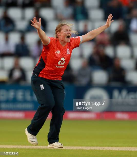 After trapping during the 2nd Vitality Women's IT20 match between England and the West Indies at The County Ground on June 21, 2019 in Northampton,...