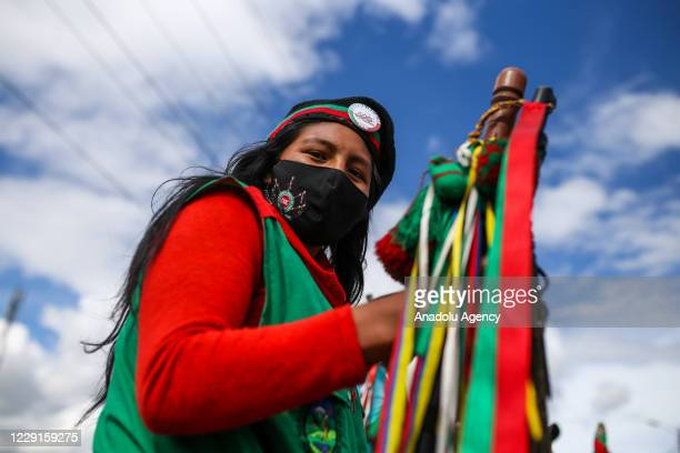 After traveling more than 600 kilometers, a huge Indigenous caravan is received by thousands of citizens in Bogota, Colombia, October 18, 2020....