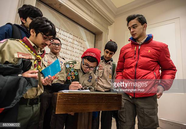 After viewing the Declaration of Indepence scouts take turns leaving their comments and sharing their experience From left Safwan Khan Areeb Baig...