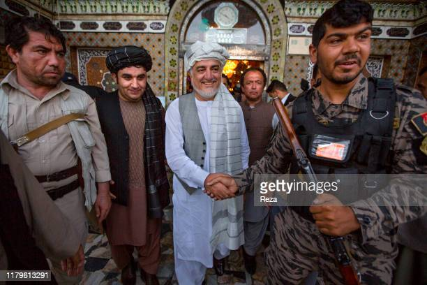 AFGHANISTAN SEPTEMBER 24 2019 After visiting the mausoleum under construction of General Abdul Raziq Dr Abdullah receives from the notables of the...