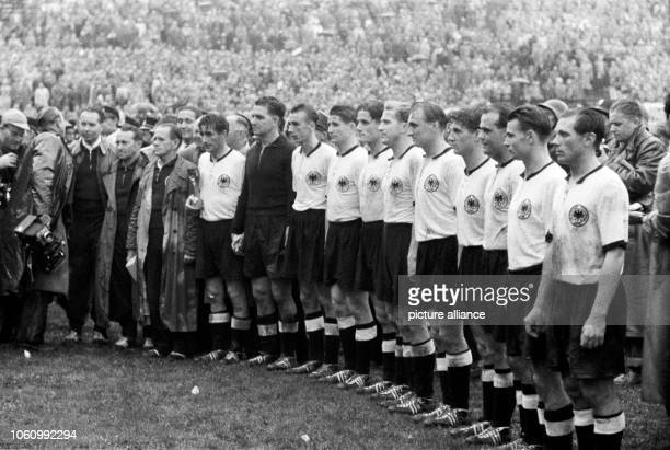 2 against Hungary in the 1954 FIFA World Cup final the German national football team is pronounced world champion Lineup at the victory ceremony...