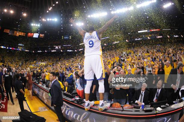 Andre Iguodala of the Golden State Warriors celebrates winning the NBA Championship in Game Five against the Cleveland Cavaliers of the 2017 NBA...