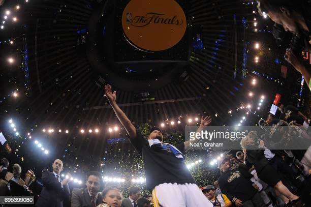 Stephen Curry of the Golden State Warriors celebrates winning the NBA Championship in Game Five against the Cleveland Cavaliers of the 2017 NBA...