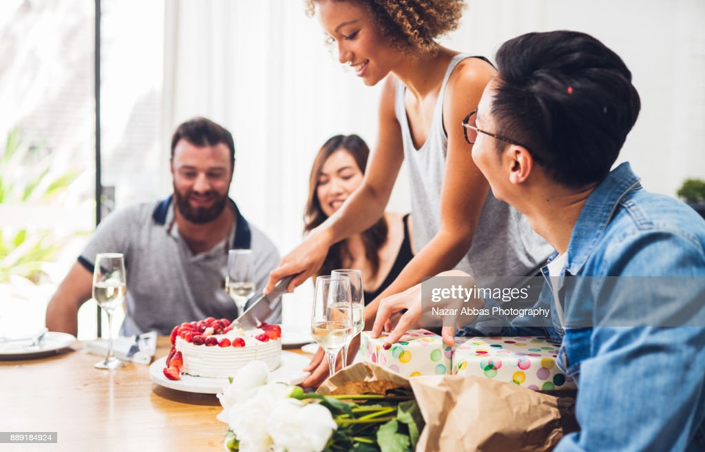 After work birthday party. : Stock Photo