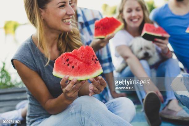 after work party outdoors - watermelon stock pictures, royalty-free photos & images