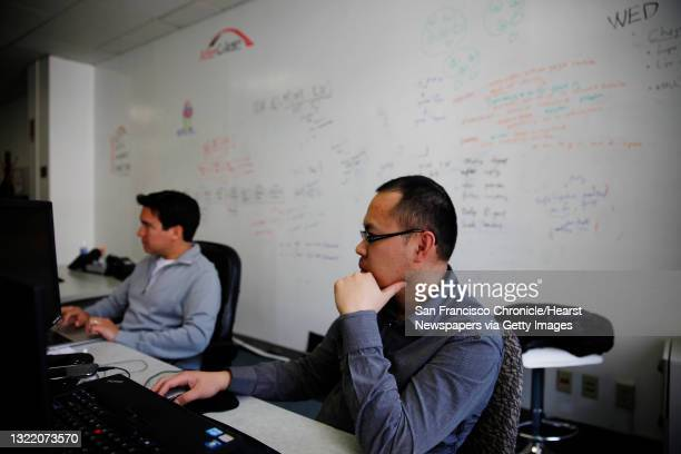 AfterCollege CEO Roberto Angulo and software/web developer Perry Lee work in front of a white board used for brainstorming at the AfterCollege...