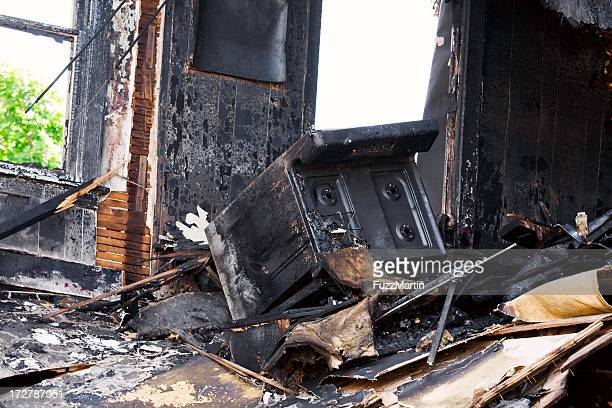 after-effects of a kitchen fire that destroyed the room - damaged stock pictures, royalty-free photos & images