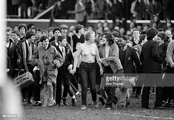 Aftermatch streakers become the centre of attention for the crowd after the Mobbs Memorial Rugby match between East Midlands and Barbarians held at...