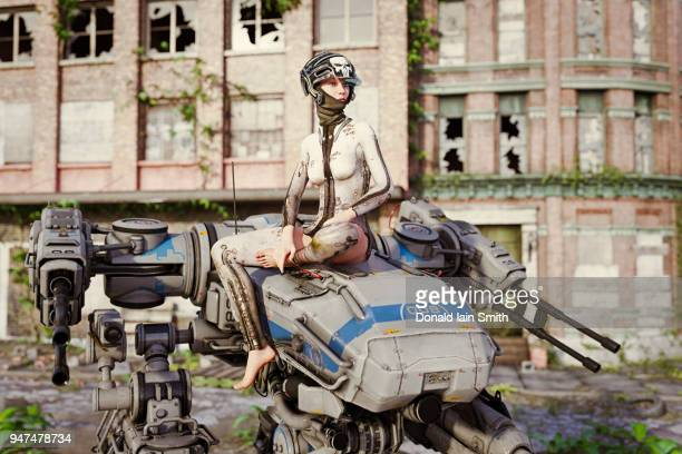 Aftermath: female rebel soldier relaxes after battle in tattered clothes sitting on mech robot in ruined city