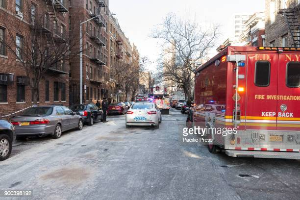 Aftermath of burnt building on Prospect Avenue in the Bronx where 12 people died including 4 children in aftermath of New York's deadliest fire in...