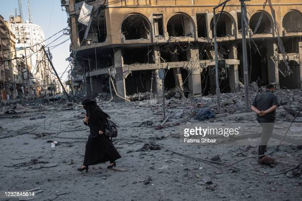 Aftermath of targeting Al-Jawhara Tower in central Gaza on May 12, 2021 in Gaza City, Gaza. At least three dozen Palestinians and five Israelis have...