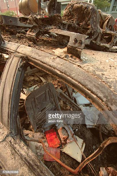 Aftermath of terrorist attack on the World Trade Center in lower Manhattan in New York City A burnedout and destroyed police car Photo by Jason...