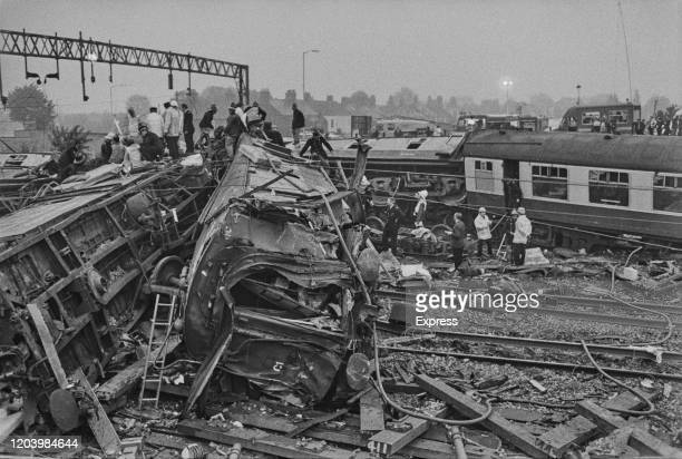 Aftermath of the Nuneaton rail crash which happened when the 2330 sleeper service from London Euston to Glasgow derailed after entering a temporary...