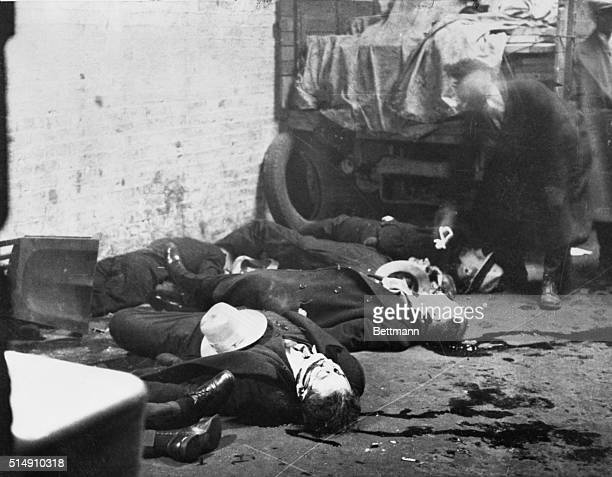 Aftermath of the Valentine's Day Massacre of February 14 1929 Seven members of the O'Banion Moran gang were trapped in a warehouse lined up against...