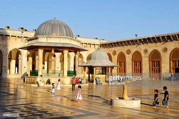 afternoon beauty at the umayyad mosque in aleppo, syria - halep stock photos and pictures