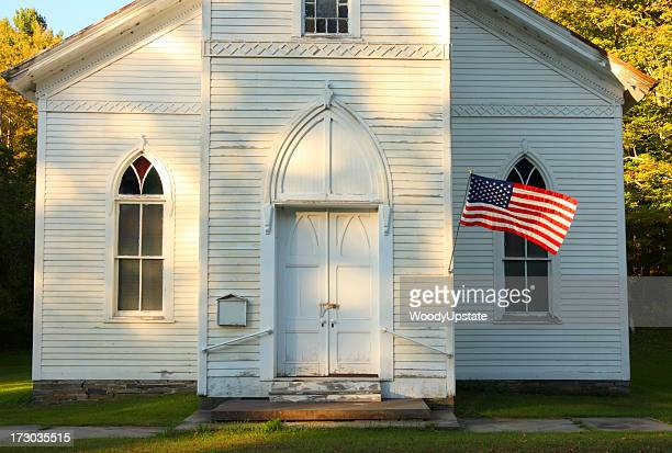 afternoon church & flag - church stock pictures, royalty-free photos & images