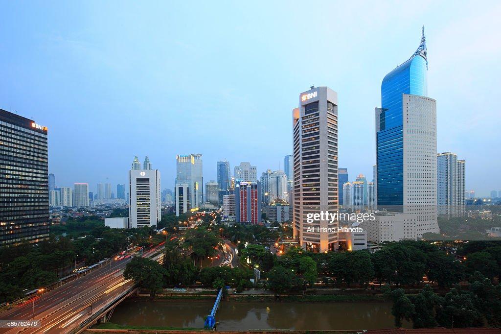 Afternoon in Jakarta Skyline, Capital city of Indonesia. Jakarta, Indonesia. : Stock Photo