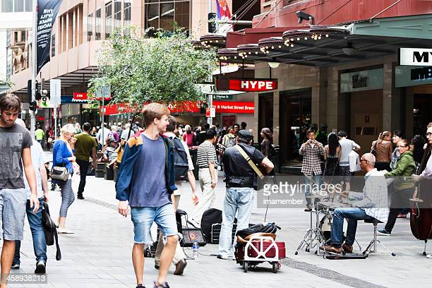 Afternoon on Pitt Street with crowd of people