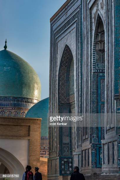 Afternoon picture of the entrances, and domes of Shaikh Zindas Madrassah at Samarkand, Uzbekistan