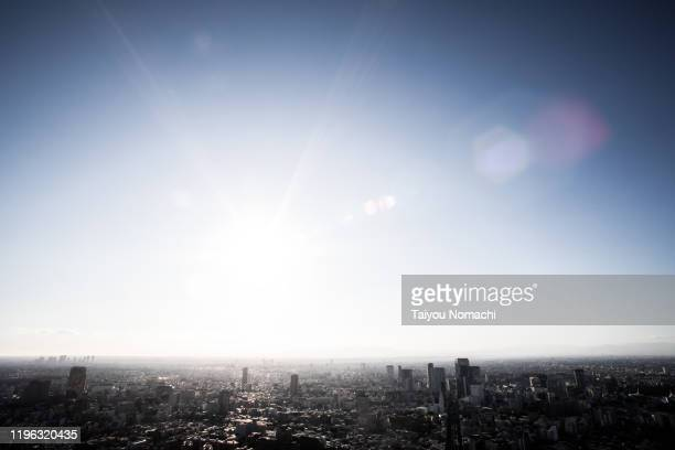 afternoon suburban scenery in tokyo - solar flare stock pictures, royalty-free photos & images