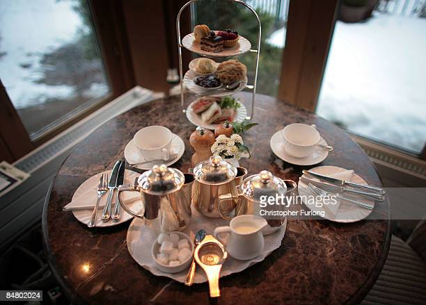Afternoon tea for two at Bettys Tea Room Harlow Carr on February 12 2009 in Harrogate England The family owned company Taylors of Harrogate have been...