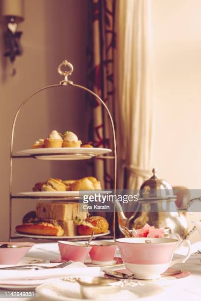 afternoon tea for two - cakestand stock pictures, royalty-free photos & images