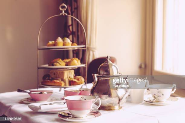 afternoon tea for two - afternoon tea stock pictures, royalty-free photos & images