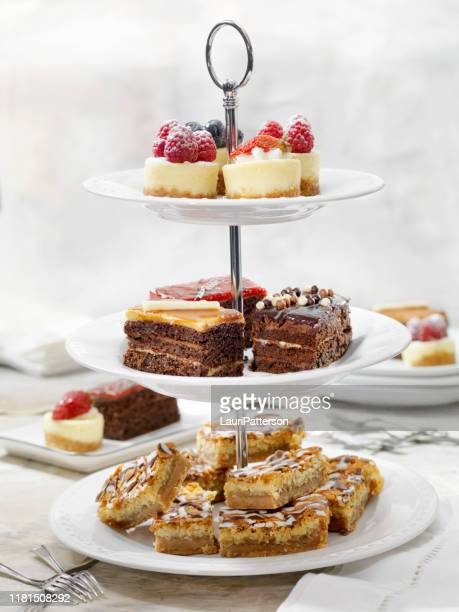 afternoon tea three tier stand of desserts - cakestand stock pictures, royalty-free photos & images