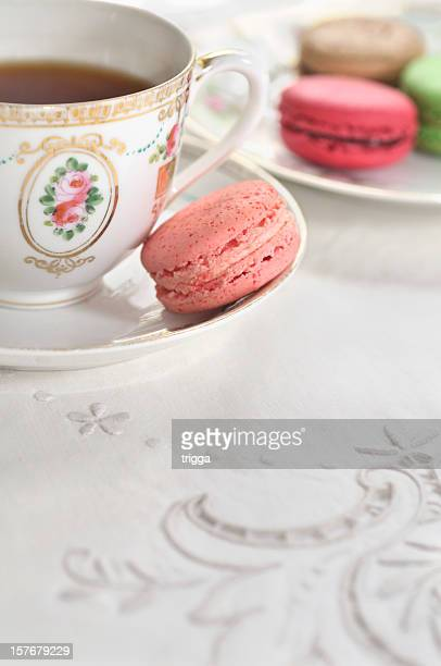 afternoon tea with macarons - needlecraft stock pictures, royalty-free photos & images