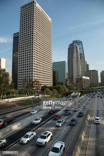 Afternoon traffic fills the northbound lanes of the 110 freeway through downtown Los Angeles on Wednesday, June 16, 2021. Few changes are a greater...