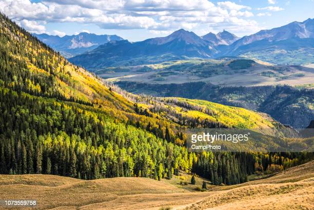 afternoon view at last dollar pass - mt wilson colorado stock photos and pictures