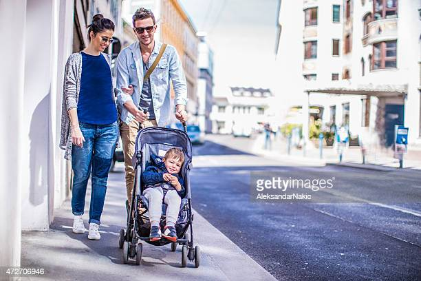 afternoon walk - pushchair stock pictures, royalty-free photos & images