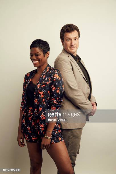 Afton Williamson and Nathan Fillion of ABC's 'The Rookie' pose for a portrait during the 2018 Summer Television Critics Association Press Tour at The...