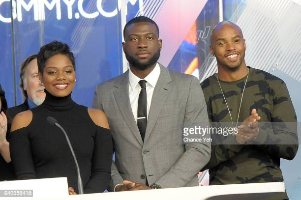 Afton Williamson Sinqua Walls and Antoine Harris of Vh1's 'The Breaks' attends the Nasdaq opening bell at NASDAQ on February 17 2017 in New York City