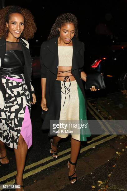 Afua Hirsch and Naomie Harris attending the Edward Enninful dinner celebrating the December issue of British Vogue on November 7 2017 in London...
