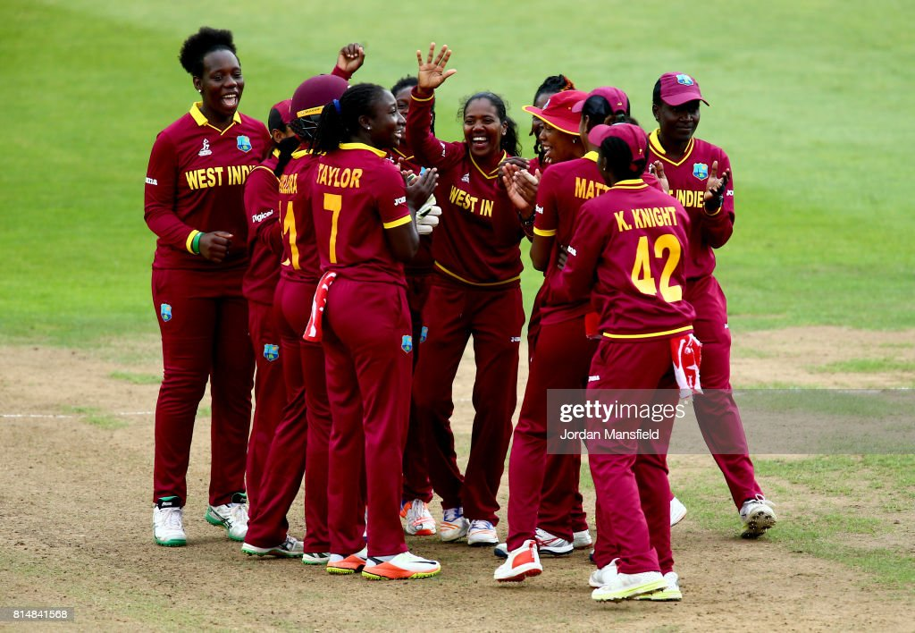 Afy Fletcher of the West Indies celebrates with her teammates after getting the wicket of Fran Wilson of England during the ICC Women's World Cup 2017 match between England and West Indies at The County Ground on July 15, 2017 in Bristol, England.