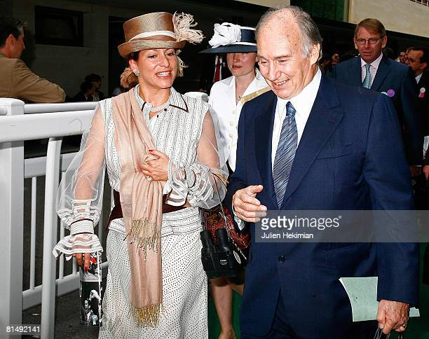 Aga Khan and his daughter Princess Zahra walk together after Le Prix de Diane ceremony on June 08 2008 in Chantilly France