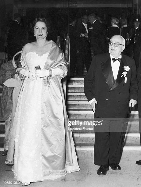 Aga Khan And La Begum Yvette Labrousse At A Charity Dance Night In The Moulin Rouge Of Paris 1953