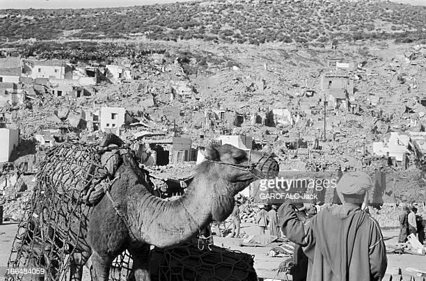 Agadir Earthquake. Maroc, Agadir, mars 1960, La ville a été partiellement détruite par un tremblement de terre le 29 février 1960. Ici vue d'ensemble...