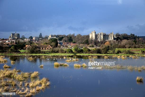 CONTENT] Against a dramatic stormy sky the City of Arundel Arundel Castle and Cathedral are lit by the sun Surrounding are the flooded meadows and...