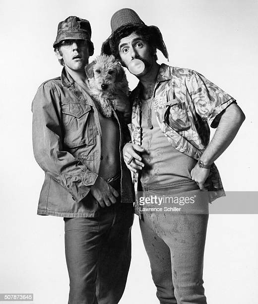 Against a white background Canadian actor Donald Sutherland and American Elliott Gould clown around during a promotional photo shoot for the film...