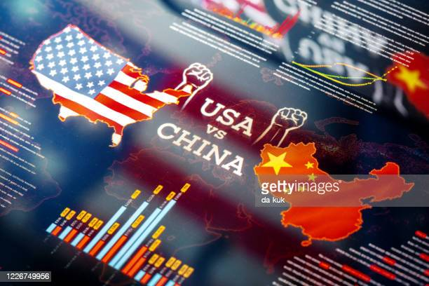 usa against china trade war and sanctions - us china trade war stock pictures, royalty-free photos & images