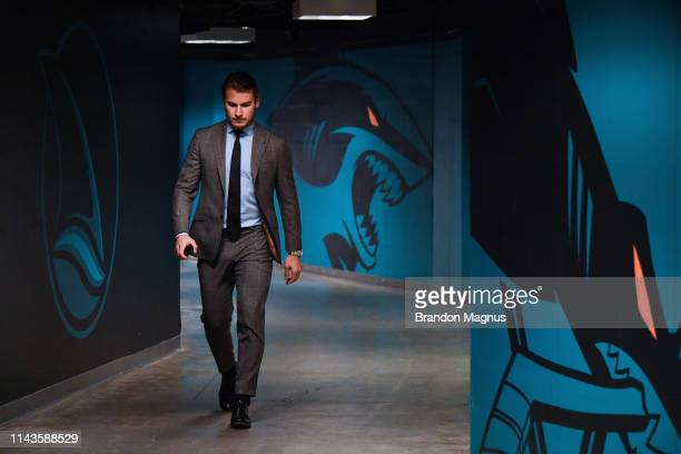 against the St Louis Blues in Game One of the Western Conference Final during the 2019 NHL Stanley Cup Playoffs at SAP Center on May 11 2019 in San...