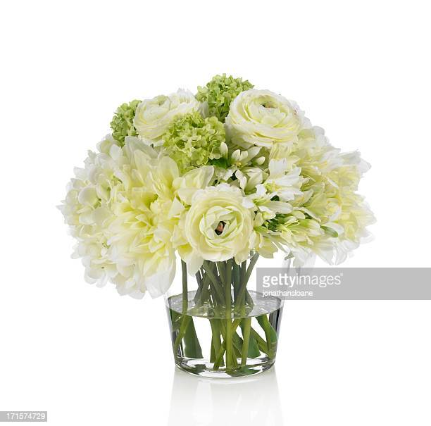 Agapanthus, Ranunculus and Dahlia bouquet on white background