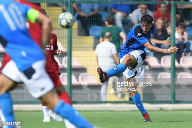 Agapios Vrikkis of SSC Napoli kicks the ball during the UEFA Youth League between SSC Napoli U19 and Liverpool FC U19 at on September 17 2019 in...